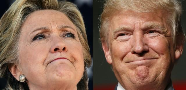 Democratic presidential nominee Hillary Clinton in Dade City, Fla., Nov. 1, and Republican nominee Donald Trump in Warren, Mich., Oct. 31, 2016.