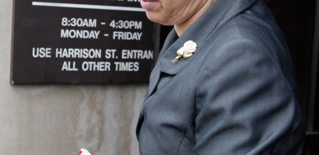 Cook County President Toni Preckwinkle departing the Cook County Medical Examiner's Office in Chicago, after a news conference in January.