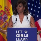 "Former first lady Michelle Obama attended the presentation of ""Let Girls Learn"" at Matadero cultural center last June in Madrid, Spain."