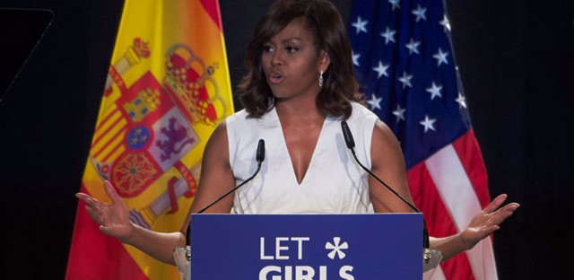 """Former first lady Michelle Obama attended the presentation of """"Let Girls Learn"""" at Matadero cultural center last June in Madrid, Spain."""