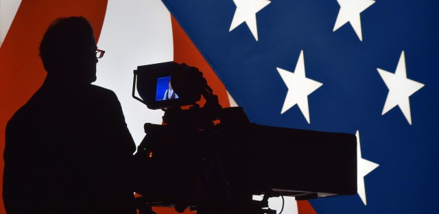 A television cameraman tests his equipment prior to showtime at the Thomas & Mack Center at the University of Nevada, Las Vegas, where the final debate between Hillary Clinton and Donald Trump will be held Wednesday night.