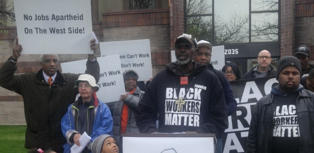Black Workers Matter gather in front of the Cloverhill Bakery on Chicago's West Side. They are demanding anti-racism training for managers.