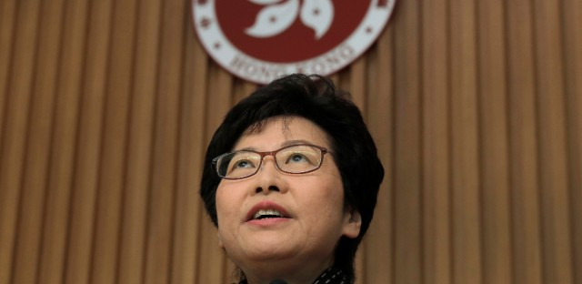 Hong Kong's Chief Executive elect Carrie Lam speaks after meeting with current chief executive Leung Chun-ying at government headquarter in Hong Kong, Monday, March 27, 2017. The candidate favored by China's Communist leadership was chosen as Hong Kong's new leader on Sunday, in the first such vote since huge pro-democracy protests erupted over the semiautonomous Chinese city's election system in 2014.