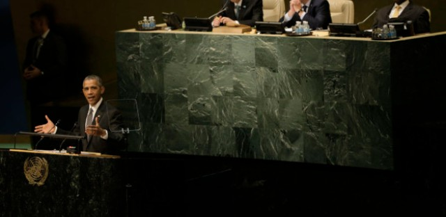 U.S. President Barack Obama delivers remarks at the United Nations Sustainable Development Summit September 27, 2015 at United Nations headquarters in New York City.
