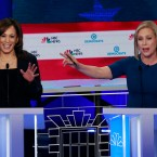 Democratic presidential candidate Sen. Kristen Gillibrand, D-N.Y., right, and Sen. Kamala Harris, D-Calif., gesture during the Democratic primary debate hosted by NBC News at the Adrienne Arsht Center for the Performing Arts, Thursday, June 27, 2019, in Miami.