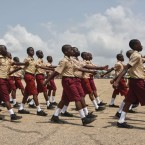 Students march during the celebration of Ghana's 60 years of independence on March 6 in Accra. (Cristina Aldehuela/AFP/Getty Images)