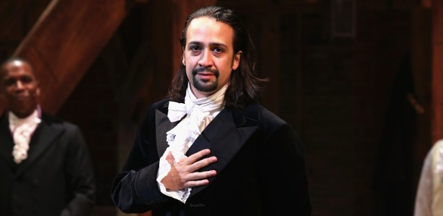 Show creator Lin-Manuel Miranda performs as America's first treasury secretary, Alexander Hamilton, in the hip-hop musical <em>Hamilton.</em>