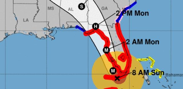 Hurricane Irma's forecast path.