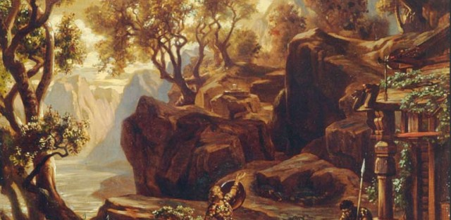 "An oil painting of protagonist Siegfried at the Hall of the Gibichungs in the Richard Wagner opera, ""Götterdämmerung""."