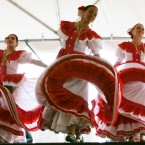 The Mexican Dance Ensemble performing a traditional Mexican folkloric dance. The dance is rich in tradition and involves coordinated feet movement along with twirling of the dresses.