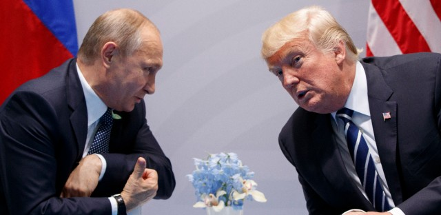 U.S. President Donald Trump meets with Russian President Vladimir Putin at the G-20 Summit in Hamburg.