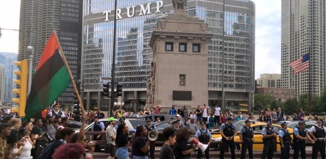 Black Lives Matter protesters on Michigan Avenue.