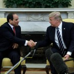 President Donald Trump shakes hands with Egyptian President Abdel Fattah al-Sisi in the Oval Office of the White House in Washington, Monday, April, 3, 2017. (AP Photo/Evan Vucci)