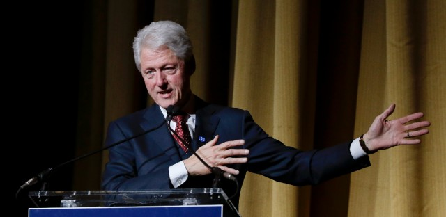 "Former President Bill Clinton speaks during the ""Hillary Victory Fund: I'm with Her"" benefit concert, Wednesday, March 2, 2016, in New York. He campaigned for Hillary Clinton in Evanston, Illinois on Tuesday."