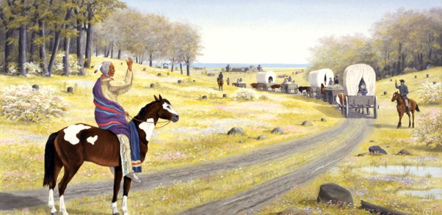 In this painting by artist Les Schrader, Potawatomi Chief Aptakisic says goodbye to Naperville settlers after escorting them to Fort Dearborn in Chicago during the Black Hawk War of 1832.