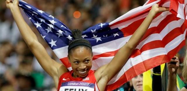 Allyson Felix captures the 200 meter race.