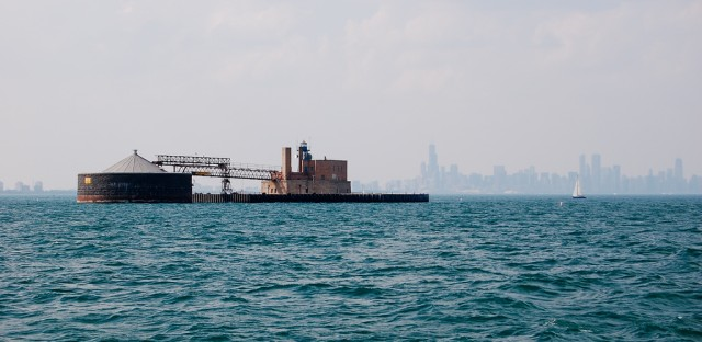 """68th Street crib. The """"cribs"""" out on Lake Michigan pump hundreds of millions of gallons of water a day out of Lake Michigan for treatment and use."""