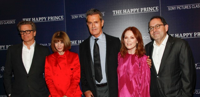 "Colin Firth, from left, Anna Wintour, Rupert Everett, Julianne Moore and Michael Barker attend a special screening of ""The Happy Prince"", hosted by Sony Pictures Classics and The Cinema Society, at iPic Cinema on Monday, Oct. 8, 2018, in New York."