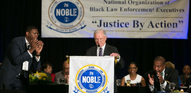 Attendees applaud after Attorney General Jeff Sessions finishes a speech during the National Organization of Black Law Enforcement Executives 41st annual training conference Tuesday in Atlanta.