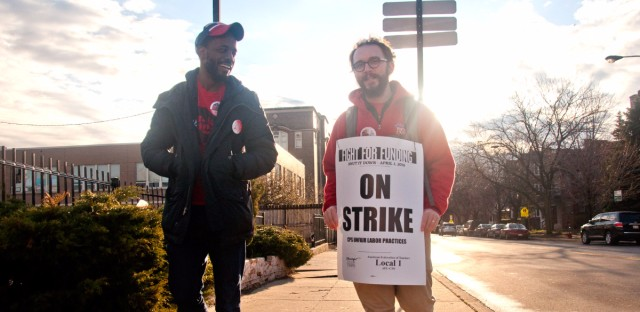 Ron Hale and Ian Brogan are teachers at Hayt Elementary in Edgewater picketing at Clark and Granville.