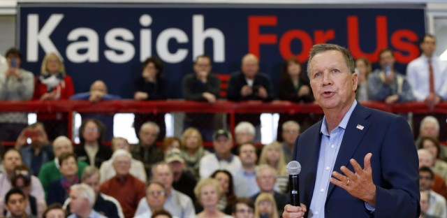 Republican presidential candidate, Ohio Gov. John Kasich speaks during a town hall meeting, Wednesday, March 9, 2016, in Palatine, Ill. (AP Photo/Charles Rex Arbogast)