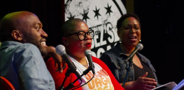 Sam Sanders and author Samantha Irby (middle) with WBEZ's Jennifer White.