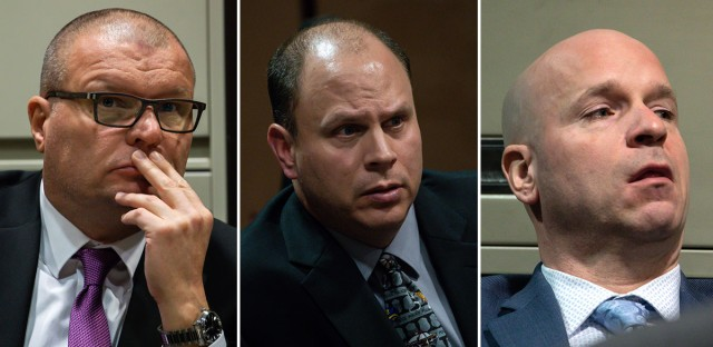 Former Chicago Police Detective David March, officer Thomas Gaffney, and former officer Joseph Walsh. The three cops are accused of covering up for former officer Jason Van Dyke in the October 2014 shooting death of Laquan McDonald. A Cook County judge is expected to issue a verdict for all three men Thursday.