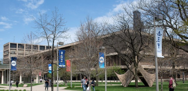 Students walk on the University of Illinois-Chicago campus. A new UIC report explains the economic challenges Native Americans face in Chicago, which represents the largest population of Native Americans in the Midwest.