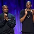 Kanye West and Jay Z onstage at Tidal's March 2015 launch event in New York.