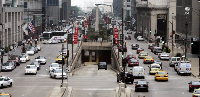 Traffic moves along Upper Wacker Drive and onto Lower Wacker Drive, via entrance ramp in center, Thursday, Aug. 4, 2005, in downtown Chicago.