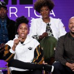 "Lena Waithe, second from left, creator/executive producer of the Showtime series ""The Chi,"" answers a reporter's question as cast members Ntare Guma Mbaho Mwine, top left, and Yolonda Ross, top right, and executive producer Common look on during a panel discussion on the show at the Television Critics Association Winter Press Tour on Saturday, Jan. 6, 2018, in Pasadena, Calif."