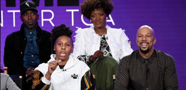 """Lena Waithe, second from left, creator/executive producer of the Showtime series """"The Chi,"""" answers a reporter's question as cast members Ntare Guma Mbaho Mwine, top left, and Yolonda Ross, top right, and executive producer Common look on during a panel discussion on the show at the Television Critics Association Winter Press Tour on Saturday, Jan. 6, 2018, in Pasadena, Calif."""