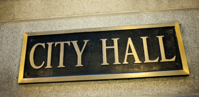 City Hall sign in Chicago