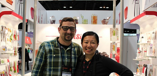 Chef Chris Cosentino and Louisa Chu at iSi booth, International Home + Housewares Show 2013 in Chicago