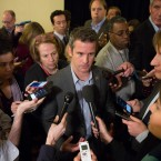 Rep. Adam Kinzinger, R-Ill., speaks with members of the media during a news conference at the Republican congressional retreat in Philadelphia, Wednesday, Jan. 25, 2017.
