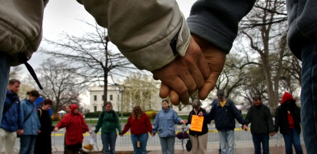 Members of the Dorothy Day Catholic Workers group hold a prayer vigil in Lafyette Park across from the White House Friday, March 28, 2003 in Washington and prayed for peace in Iraq. Dorothy Day co-founded the Catholic Worker Movement in 1933.