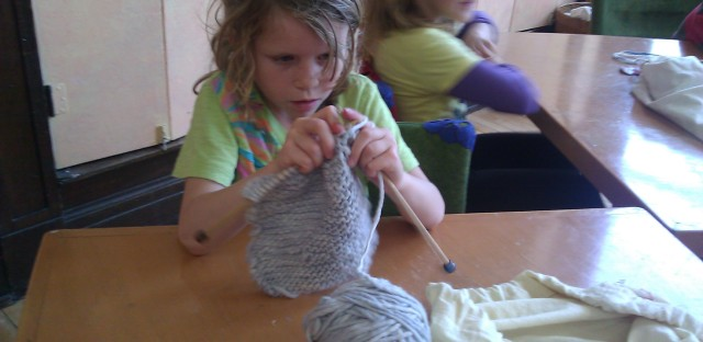 In this first grade, knitting and stories are the focus, not phonics
