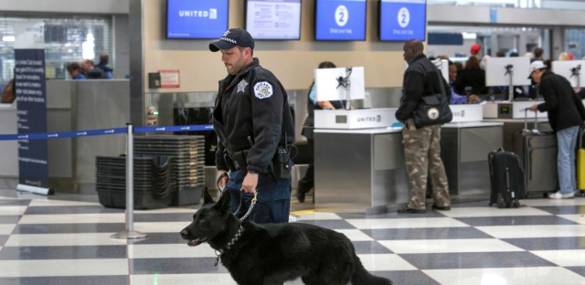 In this March 22, 2016, file photo, a Chicago Police K-9 officer and his dog walk through a terminal at O'Hare International Airport in Chicago. The Chicago Department of Aviation announced Wednesday, July 12, 2017, a new directive designating Chicago Police officers as the lead on all disturbance calls at the airports, in addition to those on aircrafts. This new directive comes after the CDA's review of the Aviation Security Division after a United passenger was forcibly removed by Aviation Security officers in April.