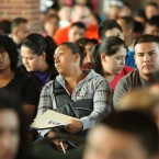 Undocumented immigrants wait to fill out applications for the Deferred Action for Childhood Arrivals program on Aug. 15, 2012, at Chicago's Navy Pier. Legal experts say the Trump administration can use that data for immigration enforcement.