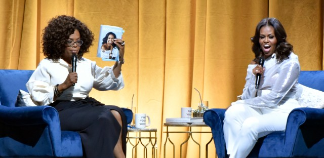 "Michelle Obama is with Oprah Winfrey to discusses her new book during an intimate conversation to promote ""Becoming"" at the United Center on Tuesday, Nov. 13, 2018, in Chicago, IL."