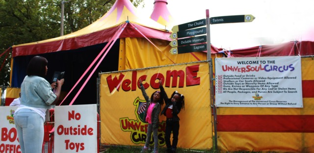 Parents and children attended the circus on Columbus Day. UniverSoul will continue its one month residency in Chicago's Washington Park.