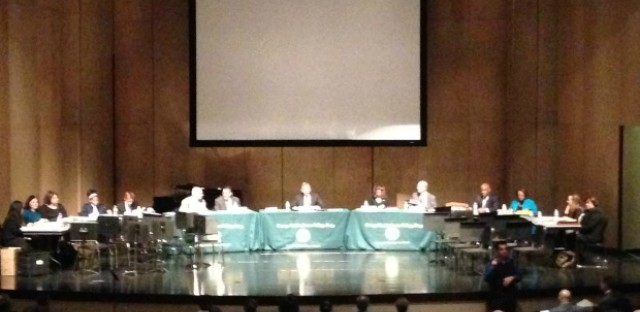 The Board of Education holds its monthly meeting at Westinghouse College Prep in November 2014. It is the first meeting to be held in a community since 2004.