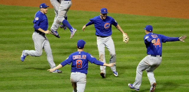 The Chicago Cubs celebrate after Game 7 of the Major League Baseball World Series against the Cleveland Indians Thursday, Nov. 3, 2016, in Cleveland.