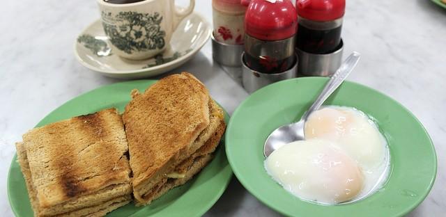 Kaya toast set at original Ya Kun on China Street in Singapore