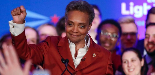 Mayor-elect Lori Lightfoot celebrates Tuesday during her election night party in Chicago.
