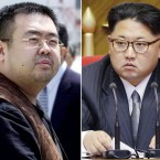 FILE - This combination of file photos shows Kim Jong Nam, left, exiled half-brother of North Korea's leader Kim Jong Un, in Narita, Japan, on May 4, 2001, and North Korean leader Kim Jong Un on May 9, 2016, in Pyongyang, North Korea. Kim Jong Nam, 46, was targeted Monday, Feb. 13, 2017, in a shopping concourse at Kuala Lumpur International Airport, Malaysia, and died on the way to the hospital, according to a Malaysian government official.