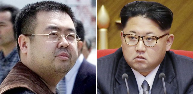 Kim Jong Nam, left, exiled half-brother of North Korea's leader Kim Jong Un and North Korean leader Kim Jong Un. Kim Jong Nam, 46, was targeted Monday, Feb. 13, 2017, in a shopping concourse at Kuala Lumpur International Airport, Malaysia, and died on the way to the hospital, according to a Malaysian government official.