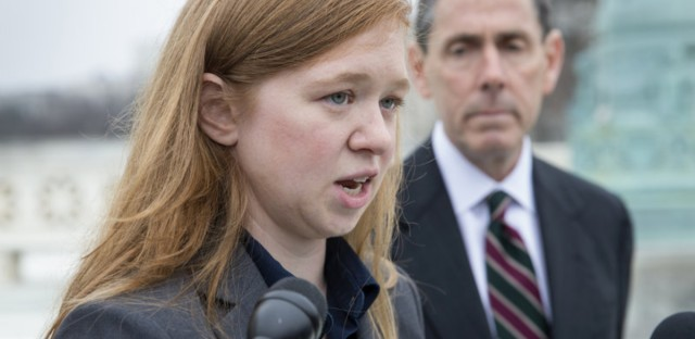 Abigail Fisher, who challenged the use of race in college admissions, speaks to reporters outside the Supreme Court on Dec. 9, 2015. The Supreme Court upheld the University of Texas' affirmative action program in a 4-3 decision.