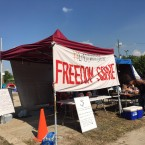 "Free food and water are offered to activists and residents at ""Freedom Square"""