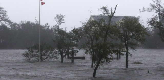 As Hurricane Florence made landfall in southeastern North Carolina early Friday, high winds and a storm surge were flooding parts of Swansboro, N.C., some 80 miles northeast of Wilmington.